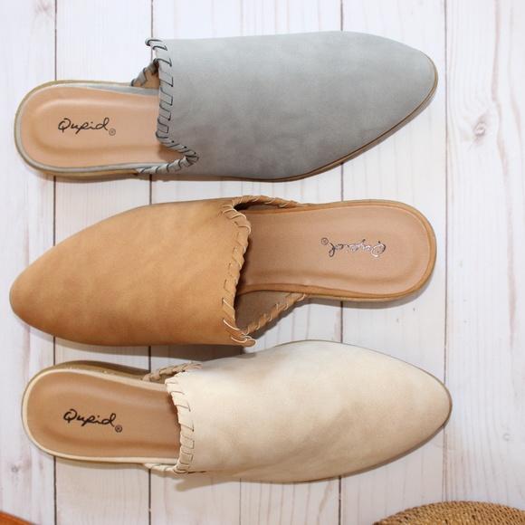 Shoes - 🆕//The Sarahi// Light grey braided mule/flat